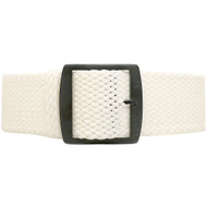 Braided Nylon Perlon Watch Strap - White (PVD Buckle)