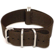 Ballistic Nylon Military Watch Strap - Brown (Matte Buckle)