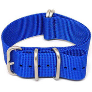 Ballistic Nylon Military Watch Strap - Blue (Matte Buckle)
