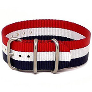 Ballistic Nylon Military 1 Piece Watch Strap - Red-White-Blue (Matte Buckle)