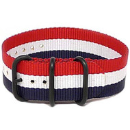 Ballistic Nylon Military 1 Piece Watch Strap - Red-White-Blue (PVD Buckle)