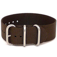 Ballistic Nylon Military 1 Piece Watch Strap - Brown (Matte Buckle)