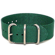 Ballistic Nylon Military 1 Piece Watch Strap - Green (Matte Buckle)