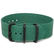 Ballistic Nylon Military 1 Piece Watch Strap - Green (PVD Buckle)