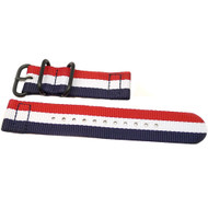 Two Piece Ballistic Nylon Watch Strap - Red-White-Blue (PVD)