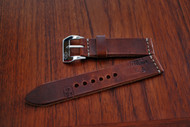Medium Brown Swiss Ammo Pouch Watch Strap with Top Cream Stitching, Polished Buckle and Stamps