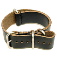 Military Watch Strap - Black Chromexcel (Matte Buckle)