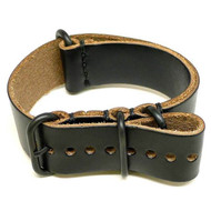 Military Watch Strap - Black Chromexcel (PVD Buckle)