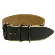 1 Piece Military Leather Watch Strap - Black Chromexcel (PVD Buckle)