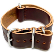 Shell Cordovan Military Leather Watch Strap - Color 8 (Matte Buckle)