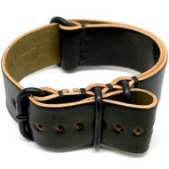 Shell Cordovan Military Leather Watch Strap - Black (PVD Buckle)
