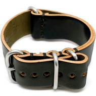 Shell Cordovan Military Leather Watch Strap - Black (Matte Buckle)