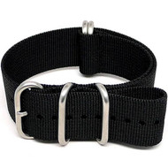 Ballistic Nylon Military Watch Strap - Black (Matte Buckle)