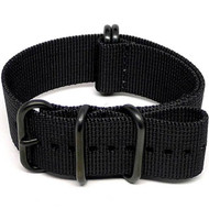 Ballistic Nylon Military Watch Strap - Black (PVD Buckle)
