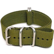 Ballistic Nylon Military Watch Strap - Olive (Matte Buckle)