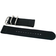 Two Piece Ballistic Nylon Watch Strap - Black