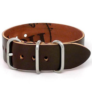 Shell Cordovan 1 Piece Military Watch Strap - Color 8 (Matte Buckle)