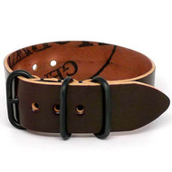 Shell Cordovan 1 Piece Military Leather Watch Strap - Color 8 (PVD Buckle)