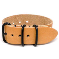 1 Piece Military Leather Watch Strap - Natural Essex (PVD Buckle)