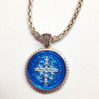 Saint Benedict Enamel Pendant, blue color, cross side