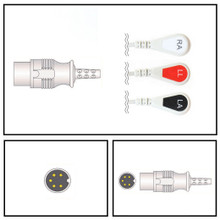 Casmed 5 Pin to 3 Lead ECG Fixed Cable (Snap)