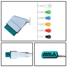 Nihon Kohden 12 Pin to 6 Lead Fixed ECG Cable (Snap) (3/6 LD)