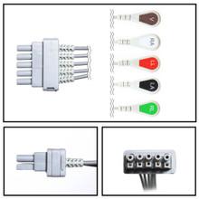 GE Datex-Ohmeda 5 Lead Dual Pin ECG Leadwires (Snap) (Single Leads) (411200-001)