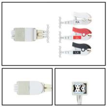 GE Patient Net Connector to 3 Lead ECG Telemetry Leadwires (Grabber) (394111-013)