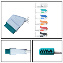 Nihon Kohden 12 Pin to 6 Lead Fixed ECG Cable (Grabber) (3/6 LD)