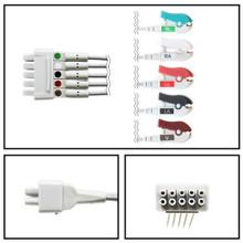 GE Marquette 5 Lead Dual Pin ECG Leadwires (Grabber) (Single Lead) (414556-001)