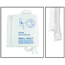 NiBP Disposable Cuff Dual Hose Small Adult (20.5-28.5cm) (Submin Fitting) PM18 - Soft Fiber (Box of 5)