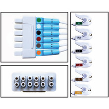 GE 6 Lead Dual Pin Disposable ECG Leadwire for Apex (Grabber) - (Box of 10)