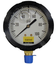 Glycerin Filled Water Pressure Gauge. 0 to 100 PSI.