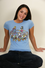 Snow White Juniors Vintage T Shirt in Blue