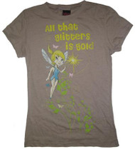 Tinkerbell All That Glitters Juniors Vintage T Shirt in Tan