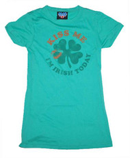Kiss Me Im Irish Today Girly Tee Shirt by Junk Food Clothing