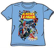 JUSTICE LEAGUE YOUTH TEE SHIRT IN BLUE