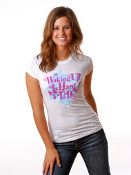 Vintage Style Waking Up Is Hard To Do Girly T-Shirt by Crooked Monkey