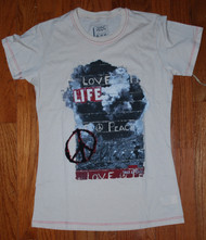 Life Peace Vintage Style Girly T-Shirt by Heartbeat