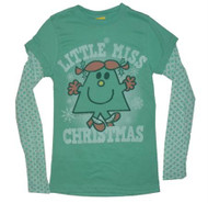 Little Miss Christmas Green 2Fer Girls T-Shirt by Junk Food Clothing
