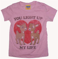 Rudolph You Light Up My Life Girls Glitter T-Shirt by Junk Food Clothing