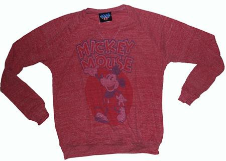 Disney Mickey Mouse Waving Womens Tri Blend Crew Neck Sweatshirt by Junk Food Clothing