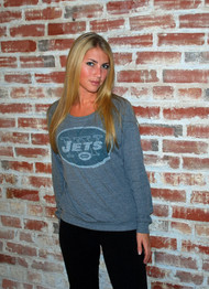 NFL New York Jets Womens Tri-Blend Crew Neck Sweatshirt by Junk Food Clothing