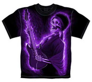 PURPLE SKELETON GUITAR MENS TEE SHIRT