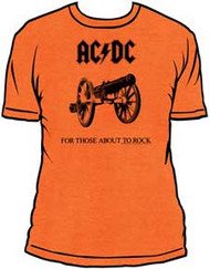 AC/DC FOR THOSE ABOUT TO ROCK ORANGE FITTED JERSEY TEE SHIRT
