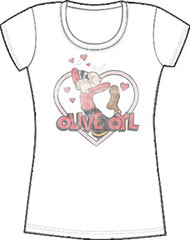 Popeye Olive Oyl In Love Juniors T-Shirt
