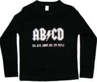 AB/CD Black Long Sleeve Kids T-Shirt