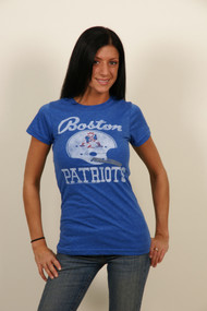 Boston Patriots Womens T-Shirt in Blue by Junk Food Clothing