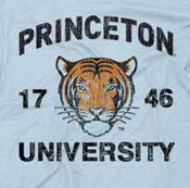Vintage Princeton University Tigers Juniors Tee Shirt in Light Blue