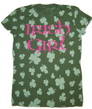 Doe Irish Girl Shamrocks Womens Tee Shirt